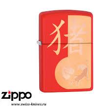 <b>Зажигалка</b> широкая Zippo <b>Classic</b> SE <b>Year of</b> the Pig Design Red ...