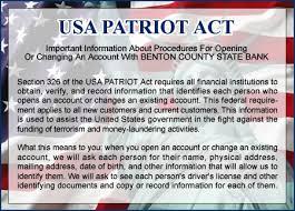「USA PATRIOT Act document」の画像検索結果