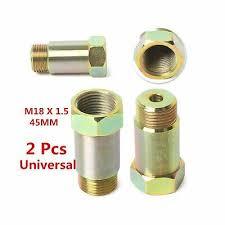 <b>2PCS</b> M18 x 1.5 Straight <b>02 O2 Oxygen</b> Sensor 45mm Extension ...