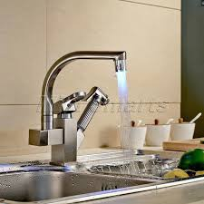 pull kitchen faucet color: deck mounted led color kitchen faucets brushed nickel pull out led spray kitchen sink faucets swivel