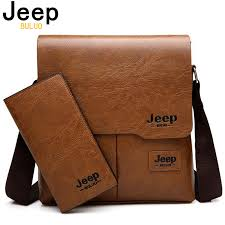 <b>JEEP BULUO</b> Man Messenger Bag 2 Set Men Pu Leather Shoulder ...