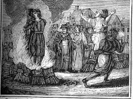 The image of a witch burning