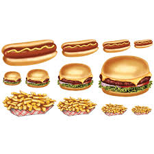Burgers Fries <b>Hot Dogs Wall Decals</b> Set of 12 Medium at Retro Planet