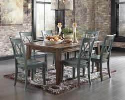 Colored Dining Room Sets Mestler Dark Brown Rectangular Dining Room Table Amp 6 Blue Green