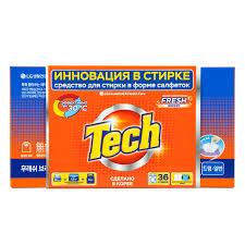 <b>TECH средство</b> для стирки в листах fresh breeze 36 штук