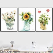 Canvas Art Print Potted <b>Plant</b> Painting <b>Nordic Sunflower</b> Daisy Small ...