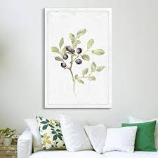 wall26 - <b>Canvas</b> Wall <b>Art</b> - Hand Drawn Blueberry Tree <b>Minimal</b> Fruit