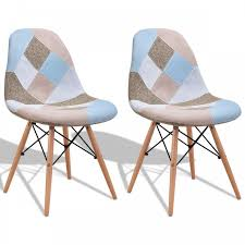 <b>2 pcs Armless</b> Fabric Upholstered Dining Chairs with Wooden Legs ...