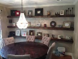 For Floating Shelves In Living Room Rustic Dining Room With Crystal Chandelier Over Round Table And