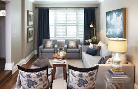 living room mesmerizing toile fabric add cool color and chic pattern to contemporary image of blue gray living room