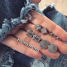 Women's <b>Crystal</b> Stud Earrings Earrings Set <b>Retro Crown</b> Bowknot ...