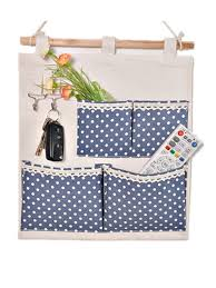 moolecole pastoral style blue polka dots printed cottonlinen fabric wall hanging organizer 4 nice wall hanging office organizer 4