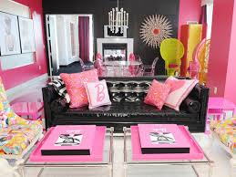 pink wall with white marble round table and black leather sofa black leather sofa perfect