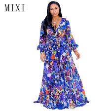 MIXI Boho Printed Chiffon Long <b>Dress</b> Women Full Sleeve V Neck ...