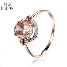 2019 <b>HELON Diamonds Ring</b> For Women Romantic Solid 14k Rose ...