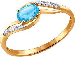 Золотое <b>кольцо</b> SOKOLOV <b>714121_s</b> с топазом, фианитами ...