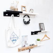 Nordic Style Creative Partition Shelf <b>Wall</b> Hanging <b>Solid Wood Hook</b> ...