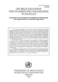 life skills education for children and adolescents in schools