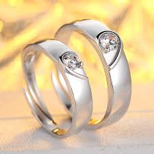 <b>S925 Sterling Silver Platinum</b> Plated Couple Ring Version Of Heart ...