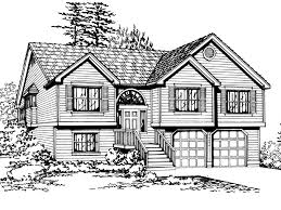 Salem Hill Split Level Home Plan D    House Plans and More    Drive Under Garage  Traditional House Plan Front Image of House   D    House Plans and More