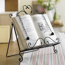 Kitchen Gadget Gift Cast Iron Cookbook Stand Black Finish Metal Chains With Weight
