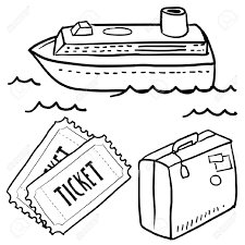 doodle style cruise or vacation sketch in vector format set doodle style cruise or vacation sketch in vector format set includes luggage cruise ship