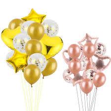 14pcs 12inch Confetti <b>Latex Balloons</b> With Star <b>Heart Foil Balloon</b> ...