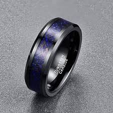 <b>Tungsten Ring</b> Black Celtic Dragons with Red Carbon Fibers ...