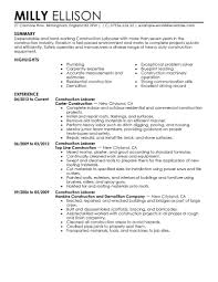sample construction worker resume   template   templatesample construction worker resume