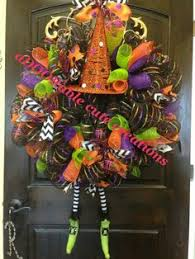 created black purple witch wreath halloween wreath black purple green polka dot chevron fee
