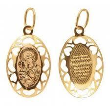 <b>Владимирская Божия</b> Матерь. <b>Золотая иконка</b> на шею, золото ...