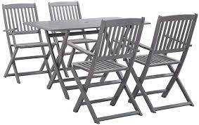 vidaXL <b>5 Piece</b> Solid Acacia Wood <b>Garden Dining</b> Set Easy Clean ...