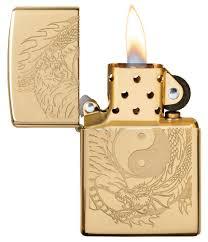 <b>Зажигалка</b> High Polish Brass Tiger and <b>Dragon Design ZIPPO</b> 49024
