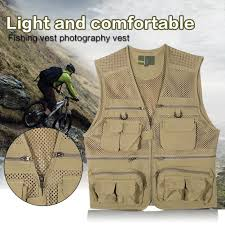 Men Breathable <b>Quick Dry Mesh Vest</b> Multi-pocket Fishing ...