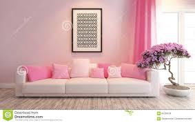 pink living room or saloon interior design rendering bonsai tree interior