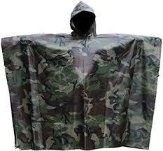 JTENG Rain Poncho <b>Waterproof</b> RipStop Hooded <b>PVC Camouflage</b> ...
