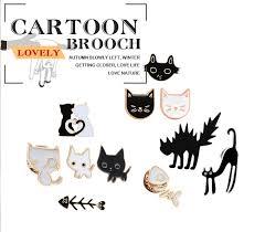 <b>Cartoon Animal</b> Brooches <b>Black White</b> Couple Cat Fish Bone ...