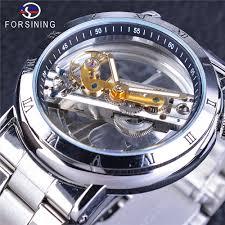 <b>Forsining Tourbillon</b> Silver Case <b>Mechanical Men's</b> Skeleton Clock ...