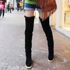 XingDeng <b>Lady</b> Party Long <b>Flock High Heels</b> Boot Shoes Elastic ...