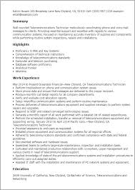 resume templates telecommunications technician telecom resume examples