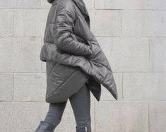 NEW Winter Extra Warm Asymmetric Extravagant Black Hooded ...