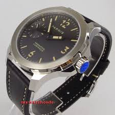<b>44mm parnis black dial</b> orange mark Sapphire glass 6497 hand ...