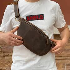 <b>PNDME vintage</b> crazy horse cowhide men's chest bag <b>high quality</b> ...