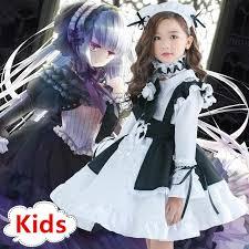 <b>Kids Girls Anime</b> Maid Cosplay Carnival Costume <b>Children</b> Fancy ...