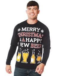 <b>Happy New Beer</b> Novelty Christmas Jumper in Ink – Merry ...