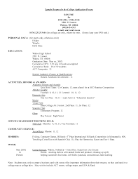 resume templates college application template personal resume templates for students in college