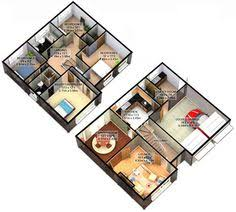 Two bedroom apartments  Bedroom apartment and Floor plans on Pinterest