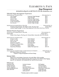 resume elizabeth a faux click here to a stage manager or scenic artist resume references