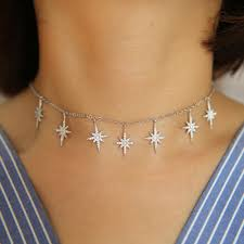 <b>2019 Hot Sale</b> cz paved Sequins Long north <b>Star</b> layer Choker ...
