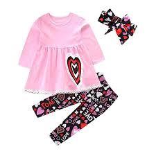 Baby Girls 3Pcs Clothing Set Valentine's Day 2-6T ... - Amazon.com